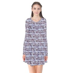 Welcome Letters Pattern Flare Dress