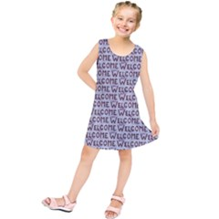Welcome Letters Pattern Kids  Tunic Dress