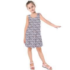Welcome Letters Pattern Kids  Sleeveless Dress