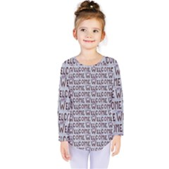Welcome Letters Pattern Kids  Long Sleeve Tee