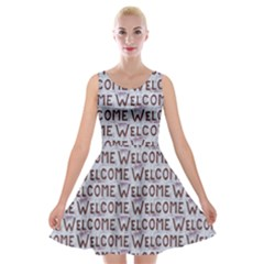 Welcome Letters Pattern Velvet Skater Dress