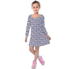 Welcome Letters Pattern Kids  Long Sleeve Velvet Dress