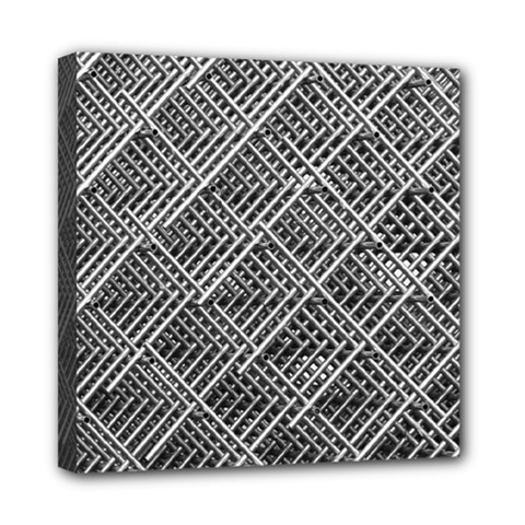Grid Wire Mesh Stainless Rods Rods Raster Mini Canvas 8  X 8