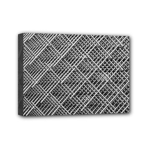 Grid Wire Mesh Stainless Rods Rods Raster Mini Canvas 7  X 5