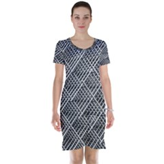 Grid Wire Mesh Stainless Rods Rods Raster Short Sleeve Nightdress