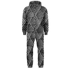 Grid Wire Mesh Stainless Rods Rods Raster Hooded Jumpsuit (men)