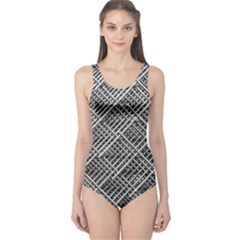 Grid Wire Mesh Stainless Rods Rods Raster One Piece Swimsuit