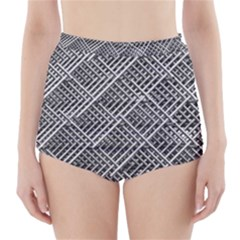 Grid Wire Mesh Stainless Rods Rods Raster High-Waisted Bikini Bottoms