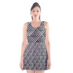 Grid Wire Mesh Stainless Rods Rods Raster Scoop Neck Skater Dress