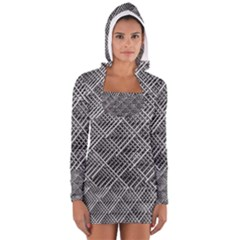 Grid Wire Mesh Stainless Rods Rods Raster Women s Long Sleeve Hooded T-shirt