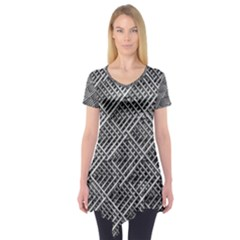 Grid Wire Mesh Stainless Rods Rods Raster Short Sleeve Tunic