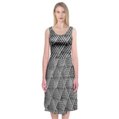 Grid Wire Mesh Stainless Rods Rods Raster Midi Sleeveless Dress