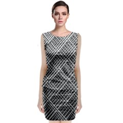 Grid Wire Mesh Stainless Rods Rods Raster Classic Sleeveless Midi Dress