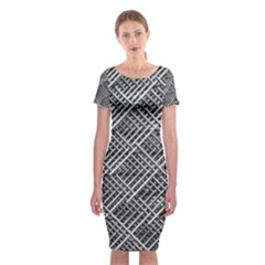 Grid Wire Mesh Stainless Rods Rods Raster Classic Short Sleeve Midi Dress