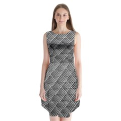 Grid Wire Mesh Stainless Rods Rods Raster Sleeveless Chiffon Dress