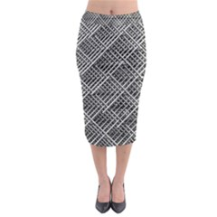 Grid Wire Mesh Stainless Rods Rods Raster Midi Pencil Skirt