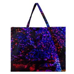 Grunge Abstract Zipper Large Tote Bag