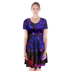 Grunge Abstract Short Sleeve V Neck Flare Dress