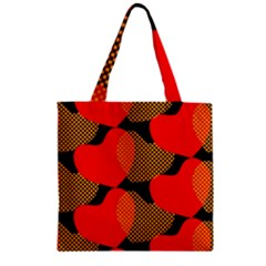 Heart Pattern Zipper Grocery Tote Bag