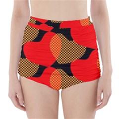 Heart Pattern High-Waisted Bikini Bottoms