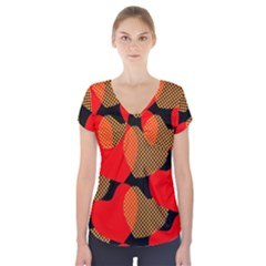 Heart Pattern Short Sleeve Front Detail Top