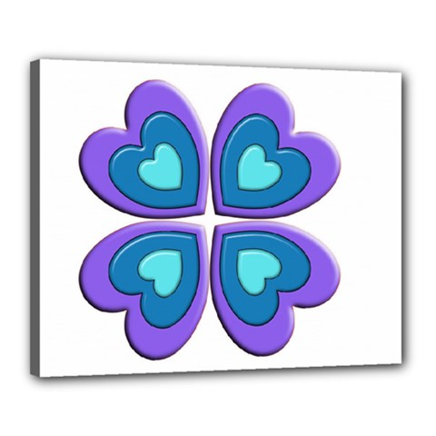 Light Blue Heart Images Canvas 20  X 16