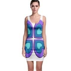 Light Blue Heart Images Sleeveless Bodycon Dress