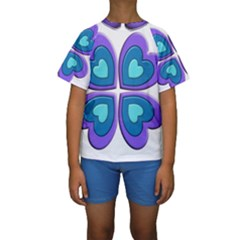 Light Blue Heart Images Kids  Short Sleeve Swimwear