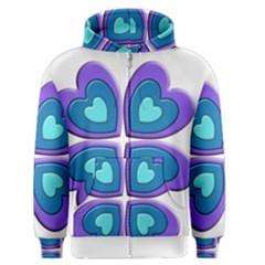 Light Blue Heart Images Men s Zipper Hoodie