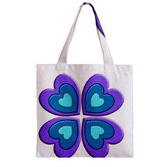 Light Blue Heart Images Zipper Grocery Tote Bag