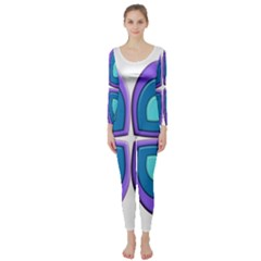 Light Blue Heart Images Long Sleeve Catsuit