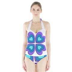 Light Blue Heart Images Halter Swimsuit