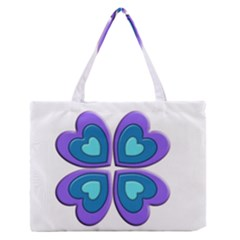 Light Blue Heart Images Medium Zipper Tote Bag