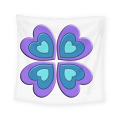 Light Blue Heart Images Square Tapestry (small)