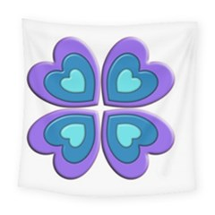 Light Blue Heart Images Square Tapestry (large)