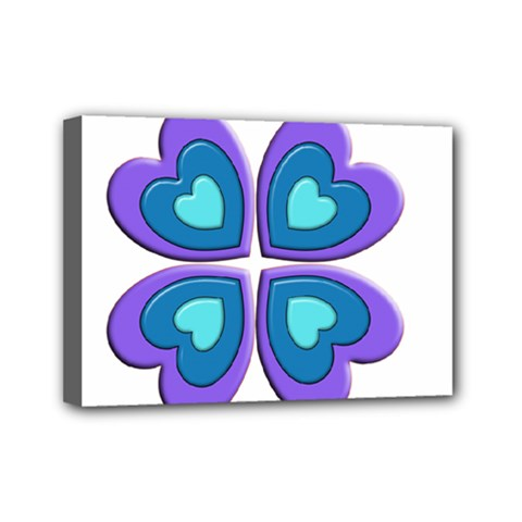 Light Blue Heart Images Mini Canvas 7  X 5
