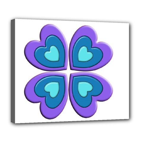 Light Blue Heart Images Deluxe Canvas 24  X 20