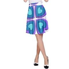Light Blue Heart Images A Line Skirt