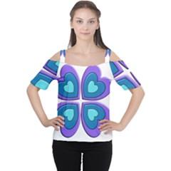 Light Blue Heart Images Women s Cutout Shoulder Tee