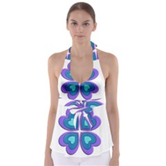 Light Blue Heart Images Babydoll Tankini Top
