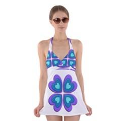 Light Blue Heart Images Halter Swimsuit Dress