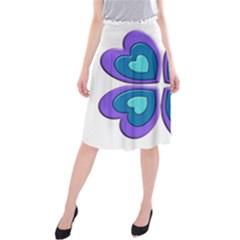Light Blue Heart Images Midi Beach Skirt