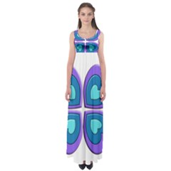 Light Blue Heart Images Empire Waist Maxi Dress