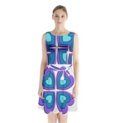 Light Blue Heart Images Sleeveless Chiffon Waist Tie Dress