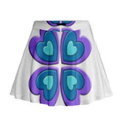 Light Blue Heart Images Mini Flare Skirt