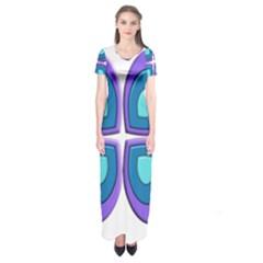 Light Blue Heart Images Short Sleeve Maxi Dress