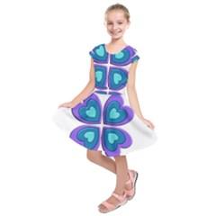 Light Blue Heart Images Kids  Short Sleeve Dress