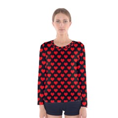 Love Pattern Hearts Background Women s Long Sleeve Tee