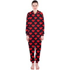 Love Pattern Hearts Background Hooded Jumpsuit (Ladies)
