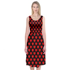 Love Pattern Hearts Background Midi Sleeveless Dress